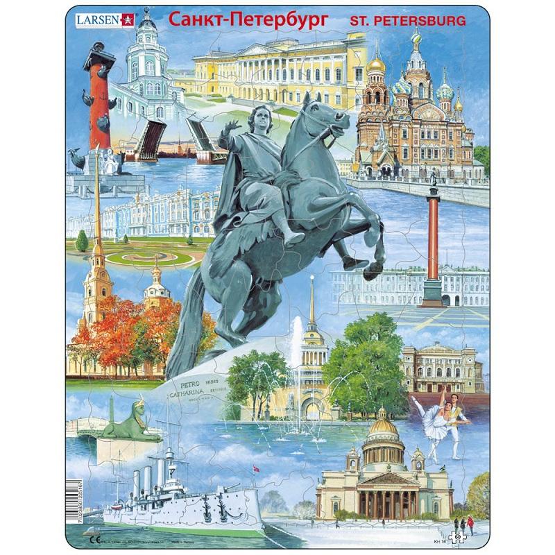 Купить Пазл - Достопримечательности Санкт-Петербурга, 60 элементов, Larsen