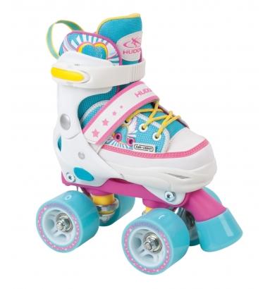 Купить Раздвижные ролики-квады Hudora Skate Wonders, розовый/голубой, 28-31