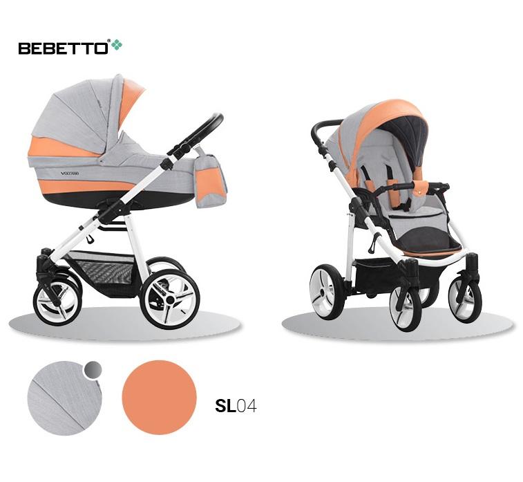 Детская коляска Bebetto Vulcano New ecco кожа+ткань 2 в 1 шасси белая/BIA, цвет - SL04Детские коляски 2 в 1<br>Детская коляска Bebetto Vulcano New ecco кожа+ткань 2 в 1 шасси белая/BIA, цвет - SL04<br>