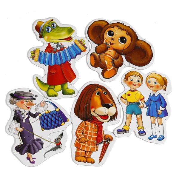 Макси-пазлы – Чебурашка, 8 развивающих картинокПазлы Союзмультфильм<br>Макси-пазлы – Чебурашка, 8 развивающих картинок<br>