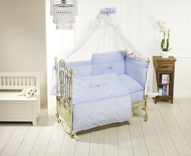Комплект постельного белья Orsetti лонг, 6 предметов, голубойДетское постельное белье<br>Комплект постельного белья Orsetti лонг, 6 предметов, голубой<br>