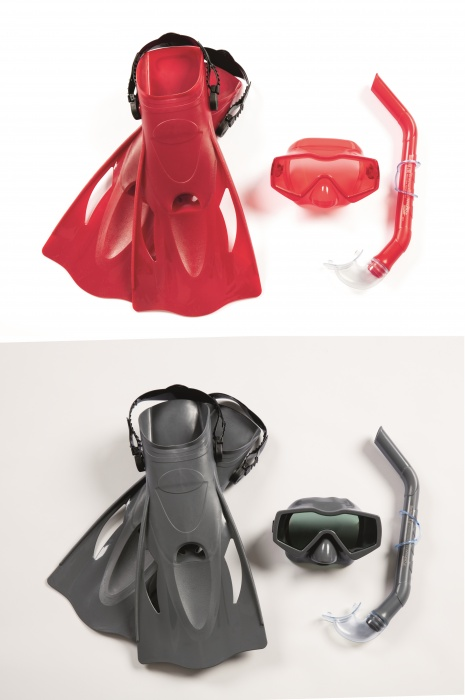 Набор для ныряния Меридиан с маской, трубкой и ластами размер 41-46, от 14 лет, 2 цвета, Bestway  - купить со скидкой