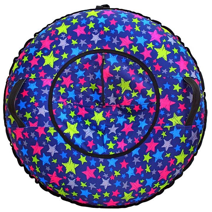 Санки надувные Тюбинг - Звёзды разноцветные, автокамера, диаметр 100 см.