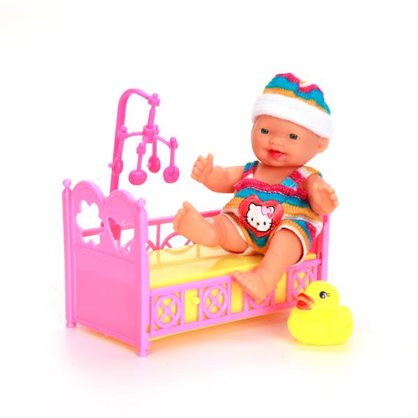 Пупс из серии Hello Kitty, в розовой одежде, с кроваткой и аксессуарами, 10 см.Пупсы<br>Пупс из серии Hello Kitty, в розовой одежде, с кроваткой и аксессуарами, 10 см.<br>