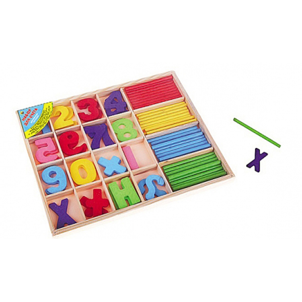 Набор для счета деревянный - Учусь считать, со счетными палочкамиРазное<br>Набор для счета деревянный - Учусь считать, со счетными палочками<br>
