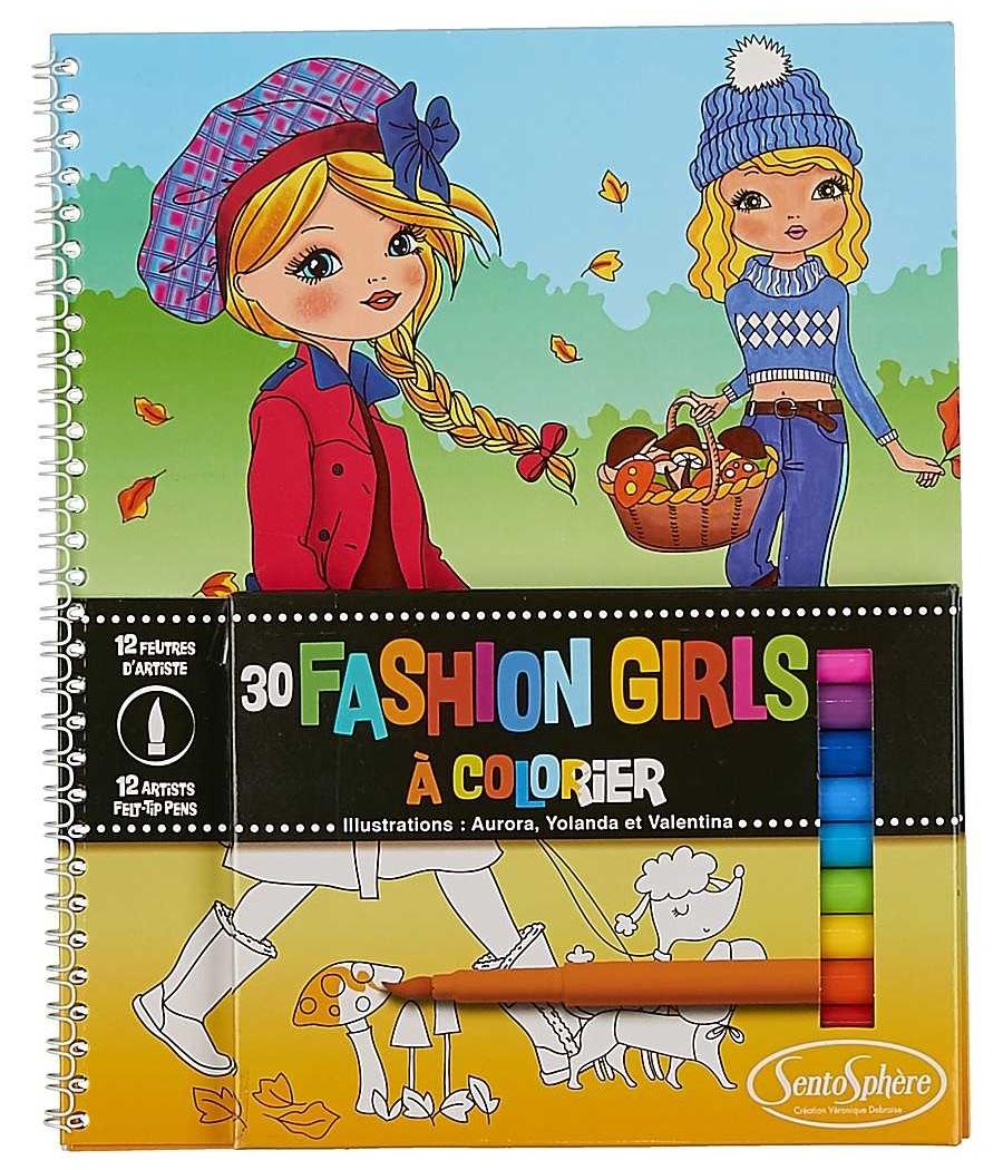 Набор для детского творчества - Раскраски с фломастерами - Модные девочки