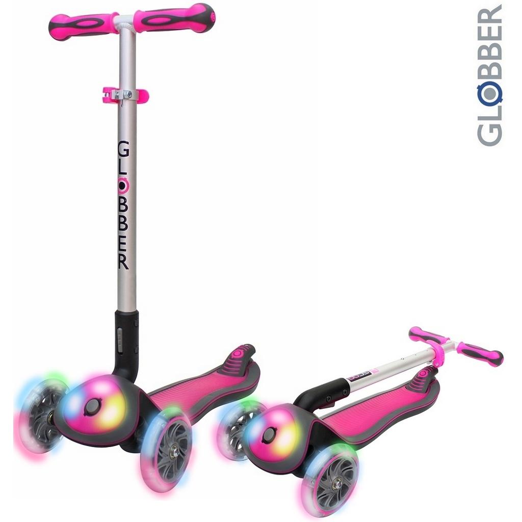 Самокат Globber Elite FL My Free Fold up 449-110 со светящейся платформой и светящимися колесами, розовый  - купить со скидкой