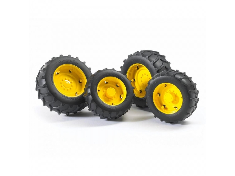 Bruder. Шины с жёлтыми дисками для системы сдвоенных колёсАксессуары<br>Bruder. Шины с жёлтыми дисками для системы сдвоенных колёс<br>