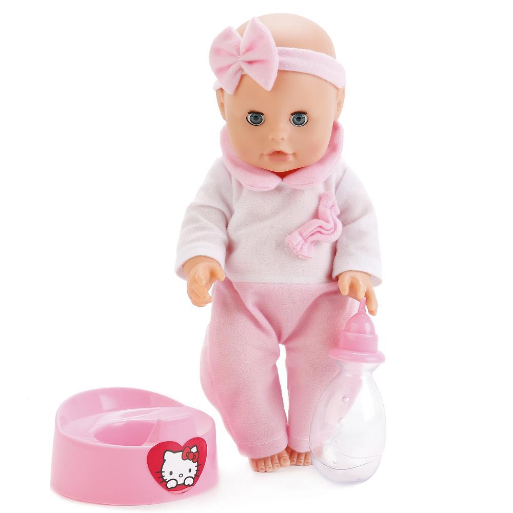 Купить Интерактивная кукла с горшком и аксессуарами – Пупс Hello Kitty, пьет, писает и закрывает глазки, 31 см, Карапуз