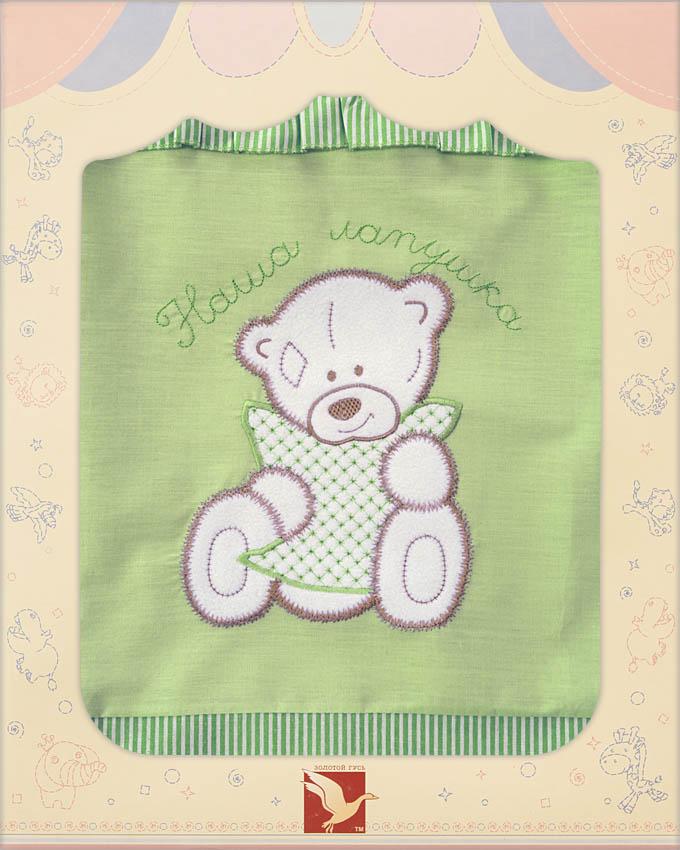 Постельное белье Лапушки, 3 предмета, цвет – зеленыйДетское постельное белье<br>Постельное белье Лапушки, 3 предмета, цвет – зеленый<br>