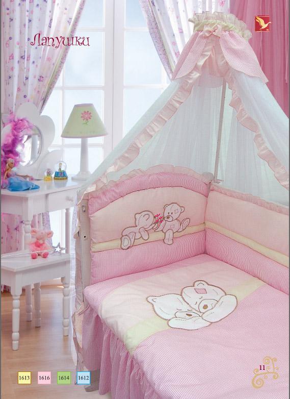 Комплект – Лапушки, розовыйДетское постельное белье<br>Комплект – Лапушки, розовый<br>