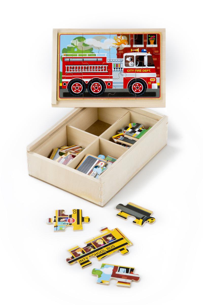 Деревянные пазлы в коробке ТранспортПазлы для малышей<br>Деревянные пазлы в коробке Транспорт<br>