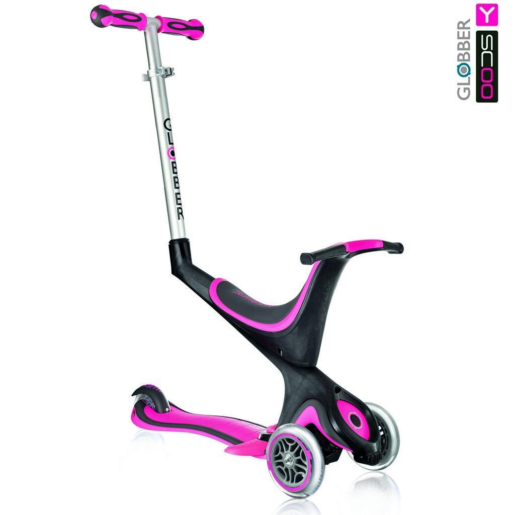 Купить Самокат Y-Scoo Globber My free Seat 5 in 1 с подножками и блокировкой колес, розовый