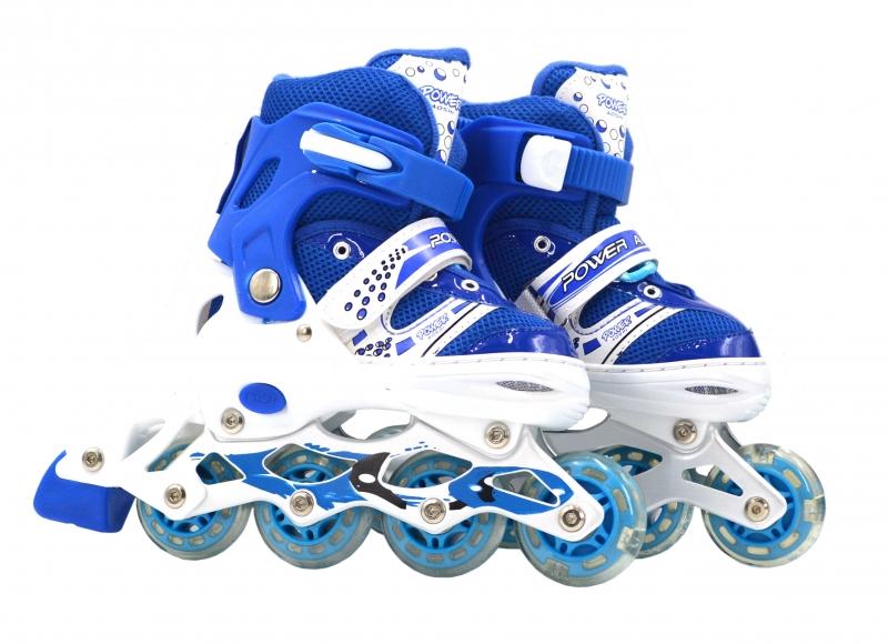 Коньки роликовые с колесами пвх, передние светятся, размер L 39-42, синие фото