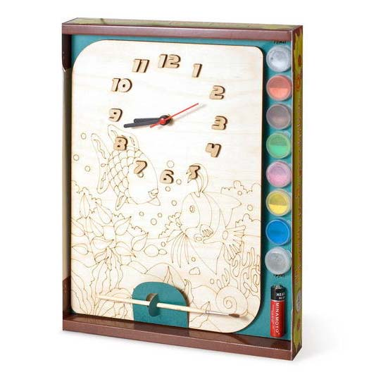 Часы с циферблатом под роспись – Рыбки, с краскамиЛаковая миниатюра и роспись по дереву<br>Часы с циферблатом под роспись – Рыбки, с красками<br>