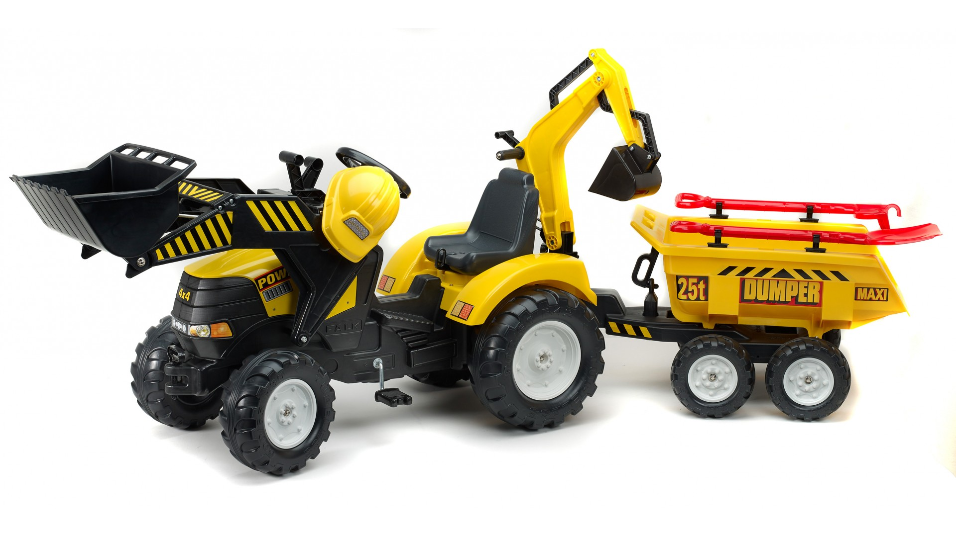 Педальный трактор-экскаватор с прицепом, черно-желтый, 230 см