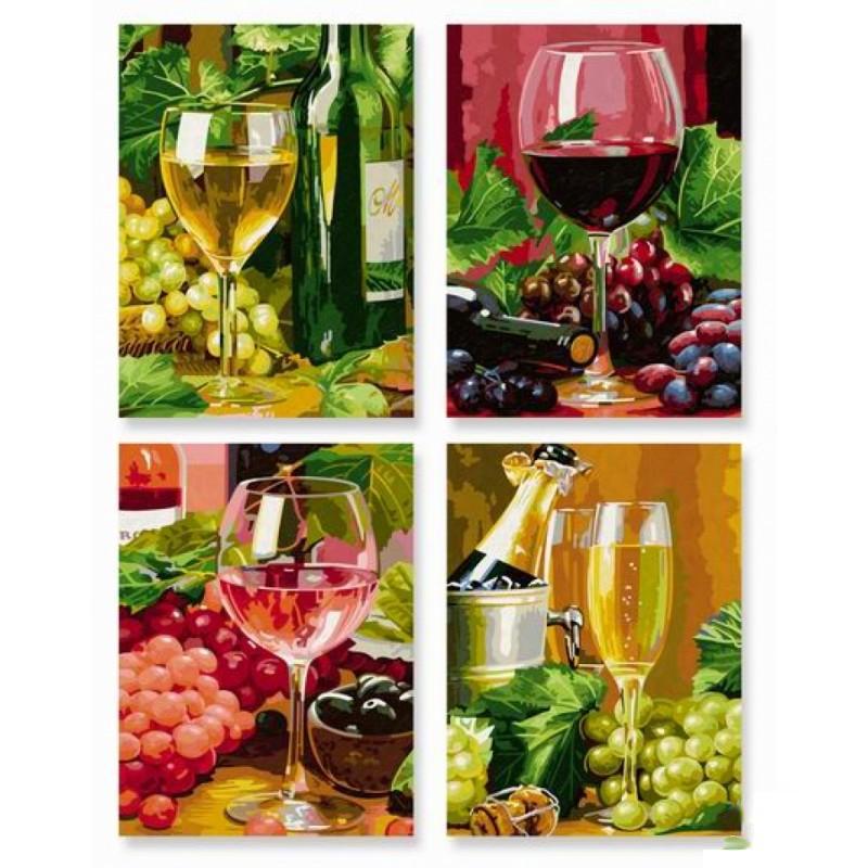 Набор для творчества Вино – 4 картины - Раскраски по номерам Schipper, артикул: 84544