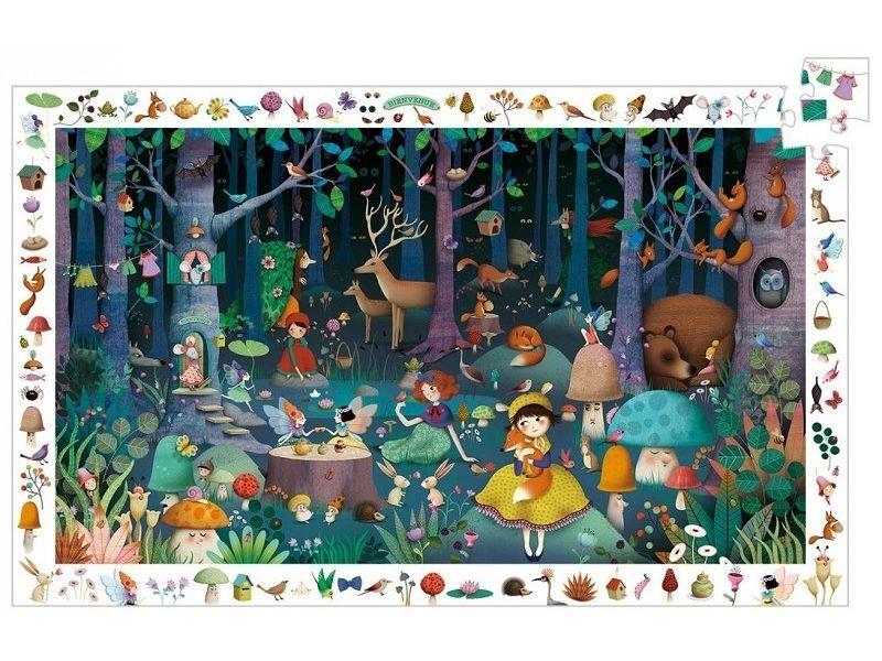 Купить Пазл и игра на наблюдательность - Таинственный лес, Djeco