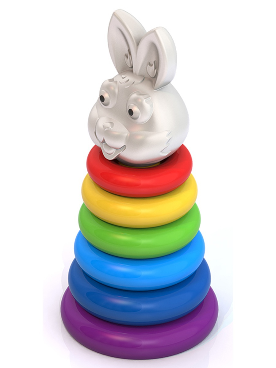 Пирамидка – Кролик, h 28 см, d 13 смСортеры, пирамидки<br>Пирамидка – Кролик, h 28 см, d 13 см<br>