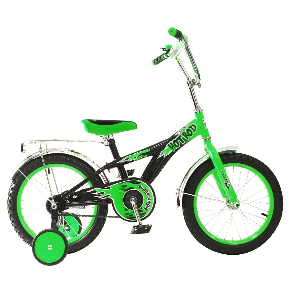 Двухколесный велосипед Hot-Rod, диаметр колес 16 дюймов, зеленыйВелосипеды детские<br>Двухколесный велосипед Hot-Rod, диаметр колес 16 дюймов, зеленый<br>