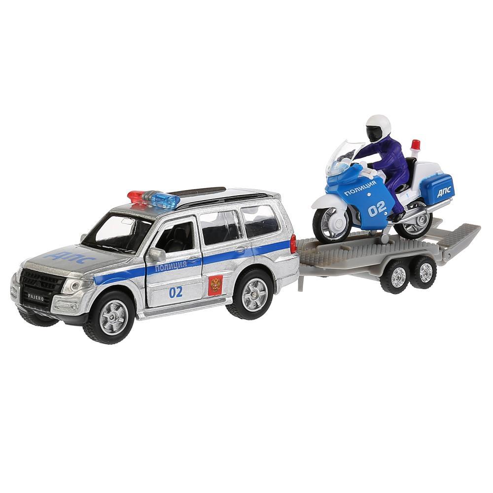 Купить Машина металлическая Mitsubishi Pajero – Полиция, 12 см с инерционным мотоциклом на прицепе +MO-WB), Технопарк