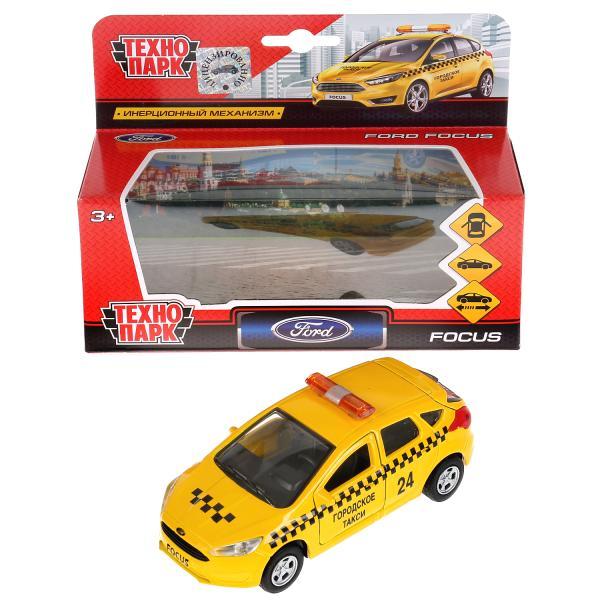 Купить Машина инерционная металлическая - Ford Focus хэтчбэк - Такси 12 см, открываются двери и багажник, Технопарк