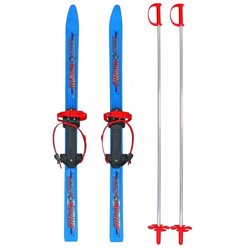 Детские лыжи с палками Пингвин - Вираж-спорт, синийЛыжи<br>Детские лыжи с палками Пингвин - Вираж-спорт, синий<br>