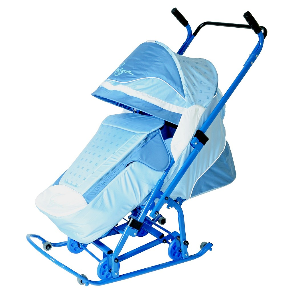 Санки-коляска Скользяшки – Мозаика, голубой-васильковый-белыйСанки и сани-коляски<br>Санки-коляска Скользяшки – Мозаика, голубой-васильковый-белый<br>