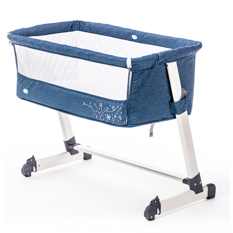 Детская приставная кроватка Nuovita Accanto, цвет - Blu scuro Lino/Темно-синий лён фото