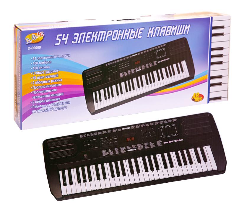 Детский синтезатор DoReMi, 54 клавиши, черного цветаСинтезаторы и пианино<br>Детский синтезатор DoReMi, 54 клавиши, черного цвета<br>