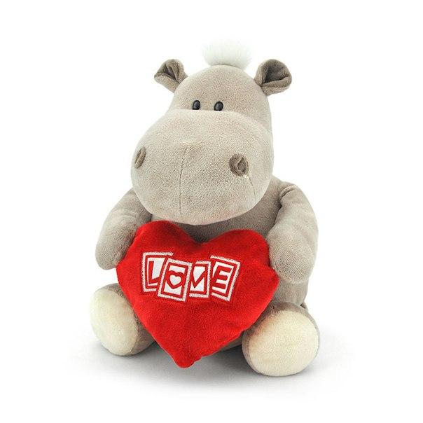 Мягкая игрушка - Бегемот мальчик с сердцем, 30 см.Дикие животные<br>Мягкая игрушка - Бегемот мальчик с сердцем, 30 см.<br>