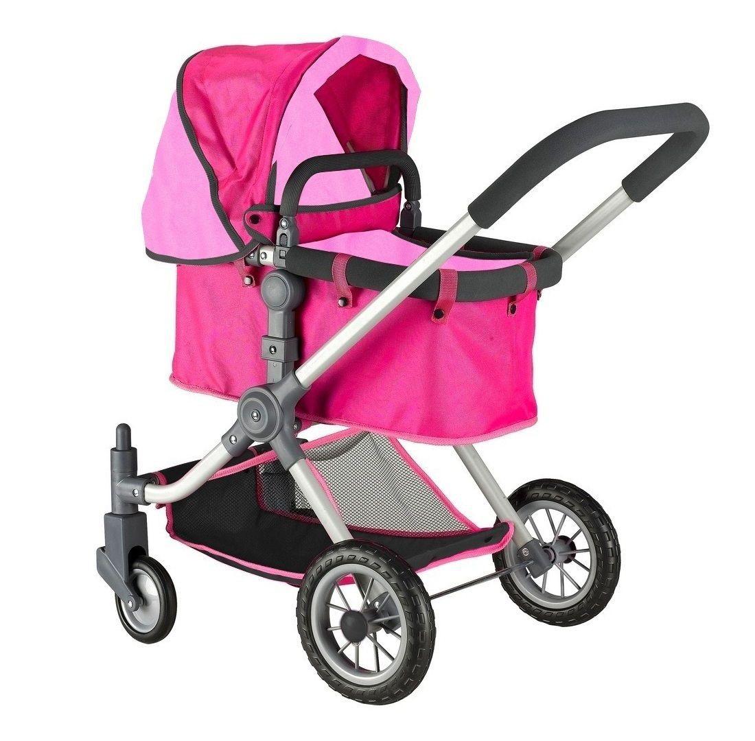 Кукольная коляска, цвет фуксия и розовый фото