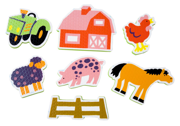 Набор ярких стикеров фигурок для ванной - ФермаИгрушки для ванной<br>Набор ярких стикеров фигурок для ванной - Ферма<br>