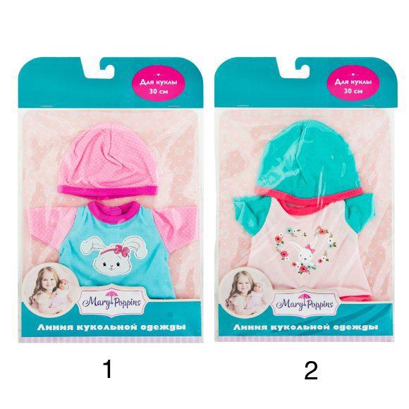Одежда для куклы 30 см - Боди с шапочкой