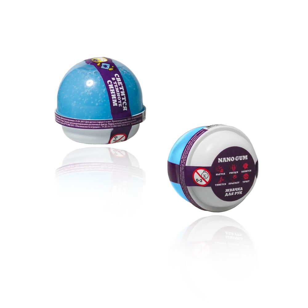 Жвачка для рук Nano gum, светится в темноте синим, 25 граммЖвачка для рук<br>Жвачка для рук Nano gum, светится в темноте синим, 25 грамм<br>