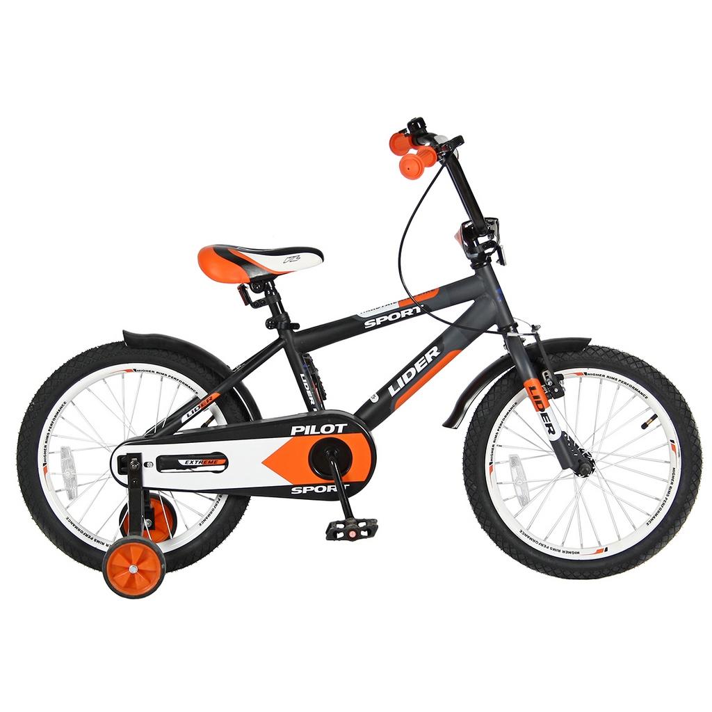 Двухколесный велосипед Lider Pilot, диаметр колес 18 дюймов, черный/оранжевыйВелосипеды детские<br>Двухколесный велосипед Lider Pilot, диаметр колес 18 дюймов, черный/оранжевый<br>