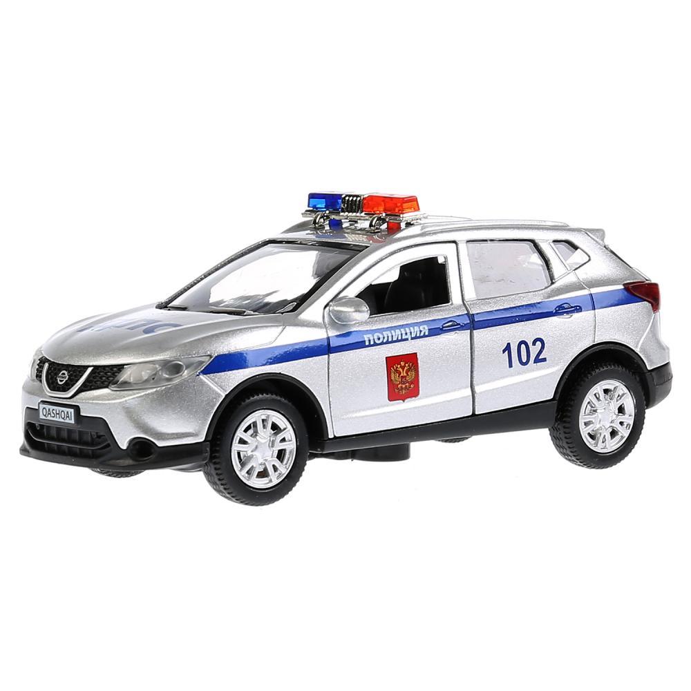 Купить Машина металлическая Nissan Qashqai Полиция, длина 12 см., свет и звук, инерционная, Технопарк