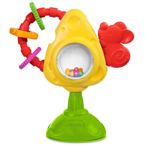 Игрушка для стульчика «Мышка с сыром и крекерами»Развивающие Игрушки Chicco<br>Игрушка для стульчика «Мышка с сыром и крекерами»<br>