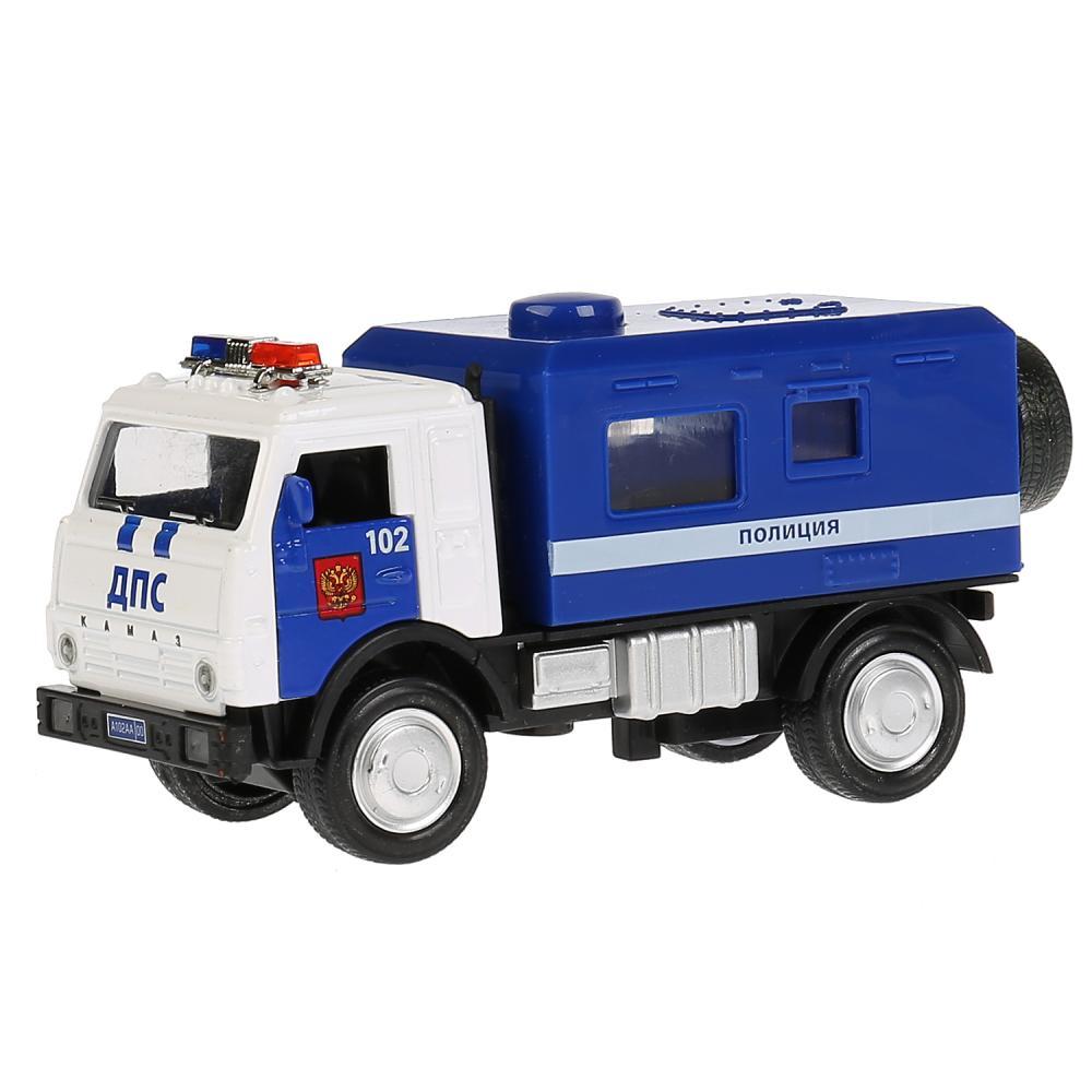 Купить Инерционная металлическая машина Полиция Kamaz Будка 12 см, свет-звук открываются двери, Технопарк