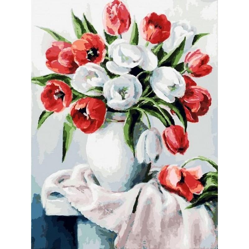 Раскраски по номерам - Красные и белые, 30 х 40 см. фото
