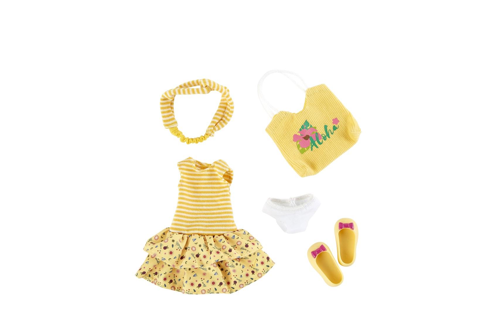Одежда и обувь для куклы Джой Kruselings 23 см. - Летний желтый наряд