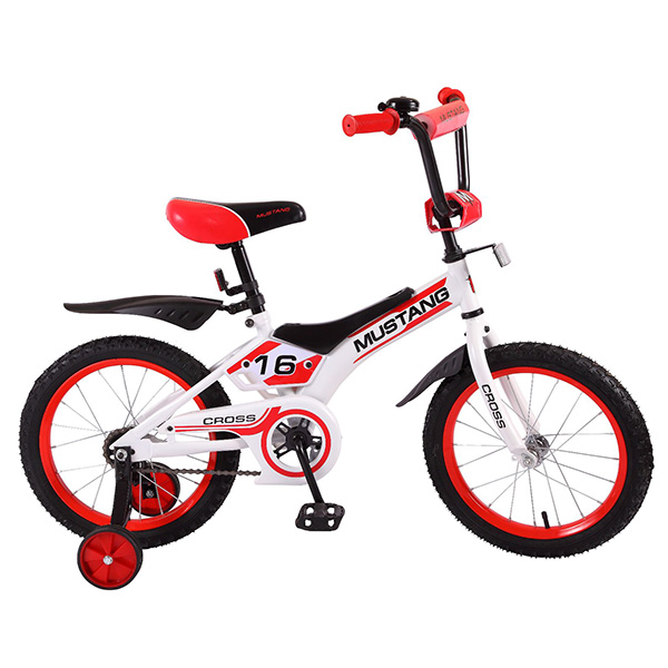 Купить Велосипед детский Mustang Cross с колесами 16 , рама TR-тип, страховочные колеса, звонок, бело/красный