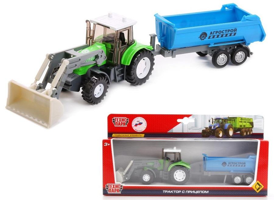 Трактор Агрострой, металлический, с прицепом и подвижными элементамиИгрушечные тракторы<br>Трактор Агрострой, металлический, с прицепом и подвижными элементами<br>