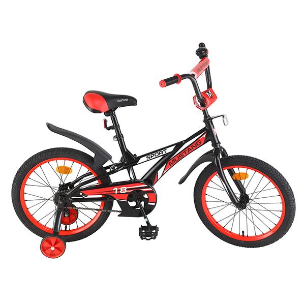 Велосипед детский – Mustang Sport, черно-красный со страховочными колесамиВелосипеды детские<br>Велосипед детский – Mustang Sport, черно-красный со страховочными колесами<br>