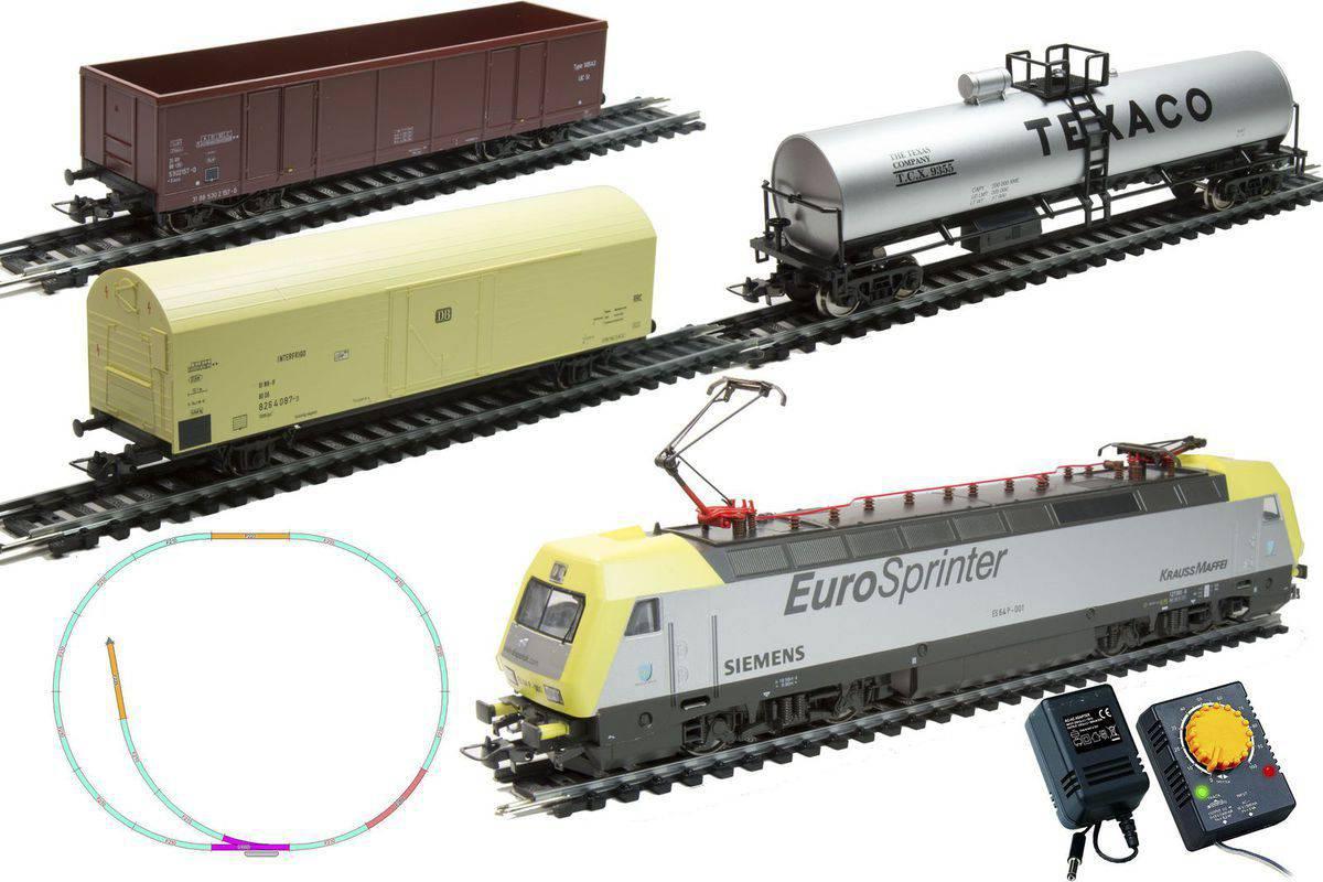 Стартовый набор из серии Mehano Prestige - электровоз Eurosprinter с 3-мя вагонамиДетская железная дорога<br>Стартовый набор из серии Mehano Prestige - электровоз Eurosprinter с 3-мя вагонами<br>