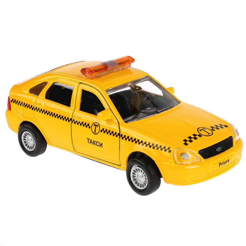 Купить Машина металлическая Lada Priora хэтчбек Такси, длина 12 см, открываются двери, инерционная WB), Технопарк