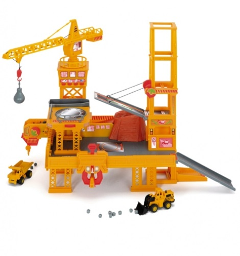 Строительная площадка с краном и машинками - Детские парковки и гаражи, артикул: 21485