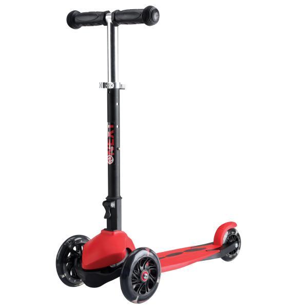 Купить Самокат 3-колесный складной, регулируемая рулевая стойка, светящиеся колеса 120 и 90 мм., цвет – красный