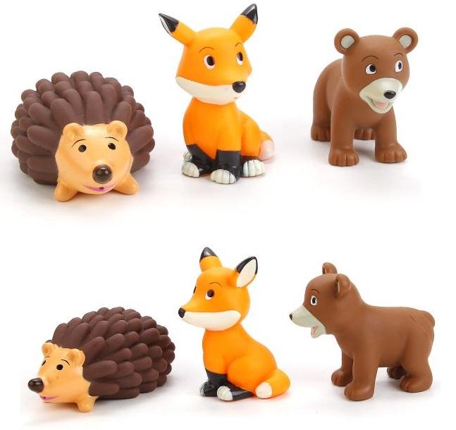Игрушки для ванной - Лиса, Мишка и Еж, в сеткеРезиновые игрушки<br>Игрушки для ванной - Лиса, Мишка и Еж, в сетке<br>