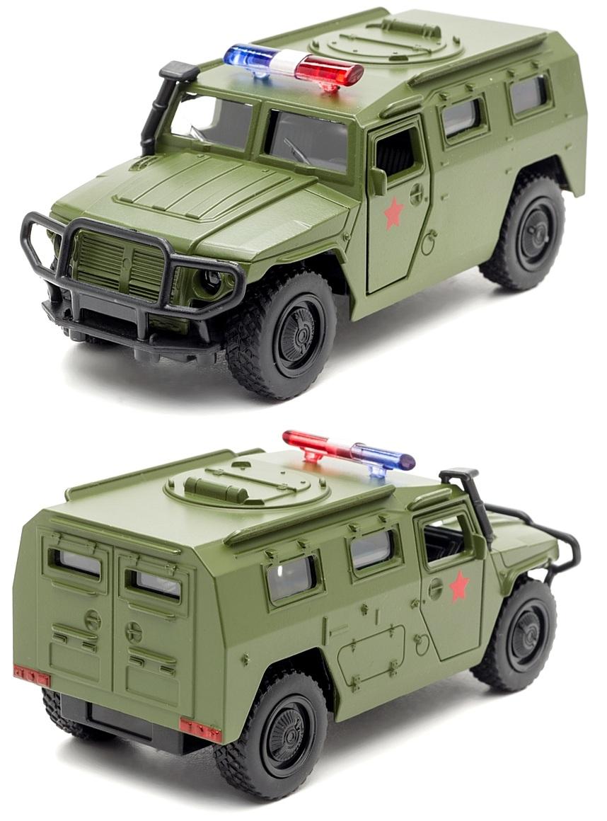Купить Машина металлическая инерционная - Газ Тигр – Военная, Технопарк